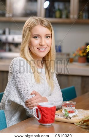 Pleasant girl sitting in the cafe