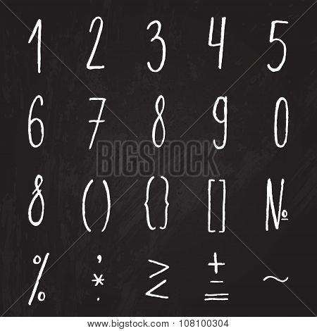 Chalk numbers and mathematical symbols on the chalkboard. Vector digits for save the dates, invitati
