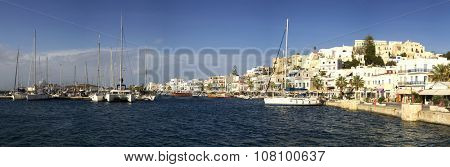 View of the port of Naxos in the Cyclades, Greece