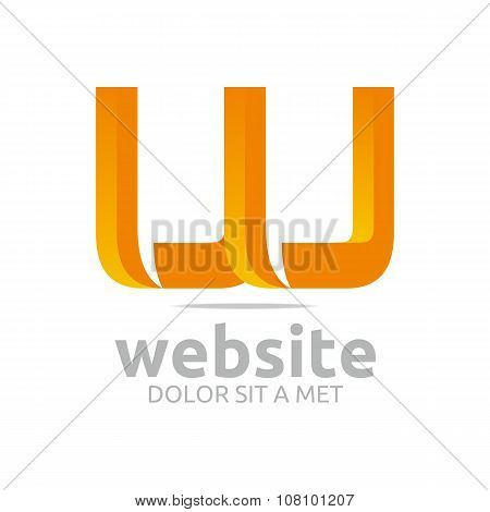 Design Logo lettering W abstract
