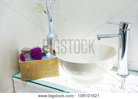 Closeup of wash basin in modern bathroom interior