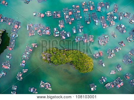 Floating village in Cat Ba islands in Haiphong, Vietnam.