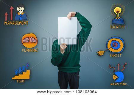 teenage boy covered his face with a sheet of white paper collect