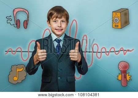 Teenage boy in a business style suit shows a sign of his hands a