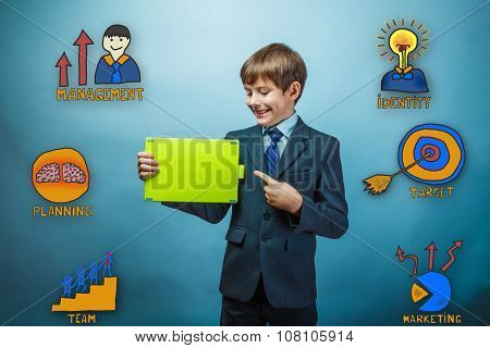 Teenage boy laughing pointing at plate collection business icons