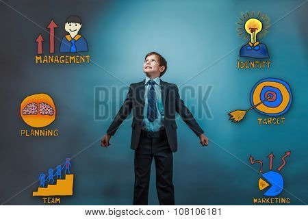 Teenage boy smiling businessman looking up opened his arms to th