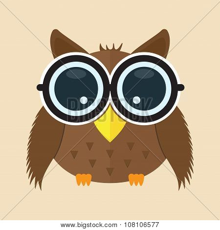 Owl With Glass Cartoon Character Animal Cute