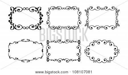 Vintage Calligraphy Vector Border Frame Set