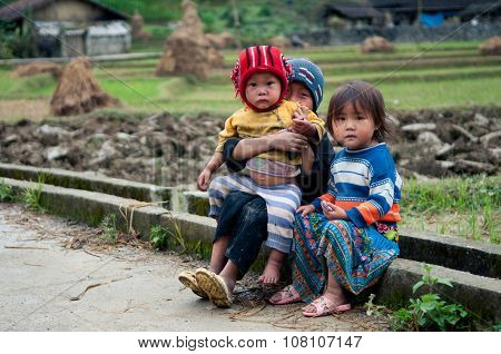 Three minority ethnic kids in Hagiang, Vietnam