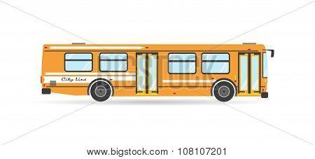 Vector Flat Transit Bus Public Vehicle