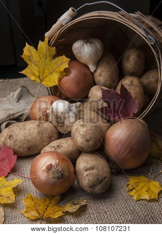 Close Up Of Veggies In A Basket.