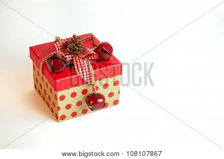 Country Christmas Gift Box Isolated On A White Background