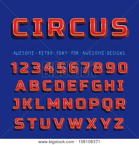 Vector Retro Shiny Font with shadow. Vintage alphabet on blue background