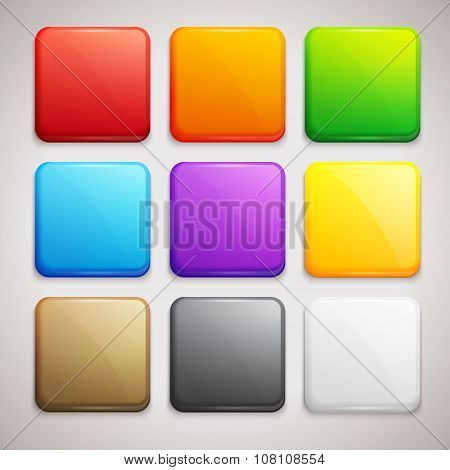 Set of Colorful Buttons. Vector Icons