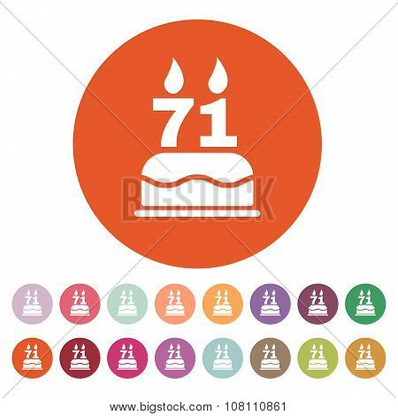 The birthday cake with candles in the form of number 71 icon. Birthday symbol. Flat