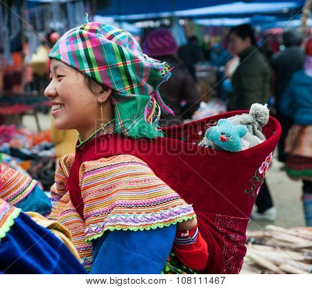 H'mong ethnic minority people in Bac Ha traditional market in Laocai, Vietnam.
