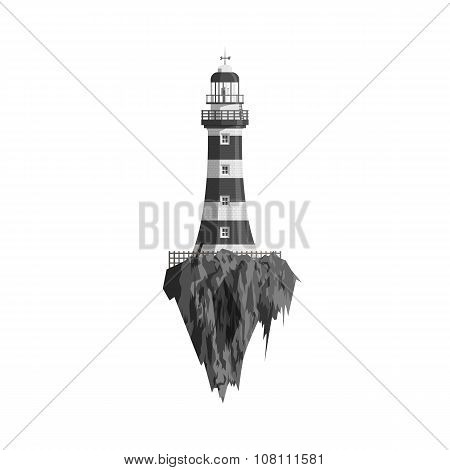 Black and white Lighthouse on flying Island