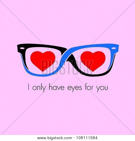Glasses And Eyes Of The Heart Background Vector