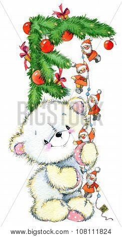 watercolor white teddy bear for Christmas and New Year background.