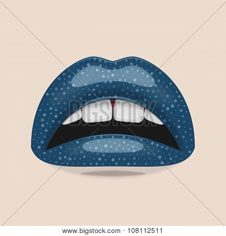 Shiny blue Lips and perfect white Teeth