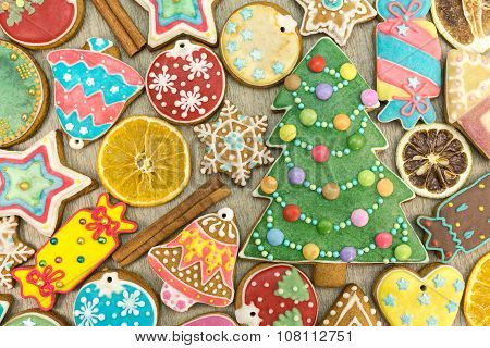 Colorful Decorated Gingerbread Cookies