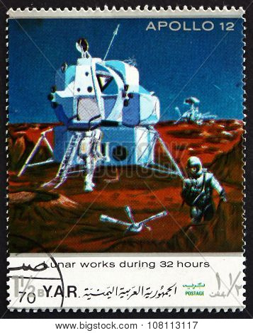Postage Stamp Yemen 1970 Apollo 12