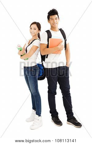 Happy Young Students Couple With Books
