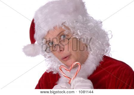 Mrs. Claus With Candy Canes
