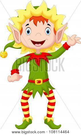 Happy Christmas Elf Cartoon