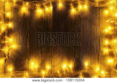 Garland Lights Frame Wood, Blank Wooden Board, Holiday Yellow Light