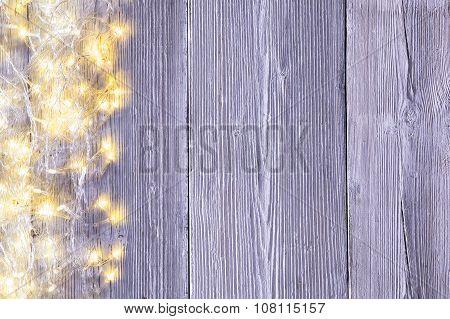 Garland Lights Wood Background, Light Wooden Board Texture