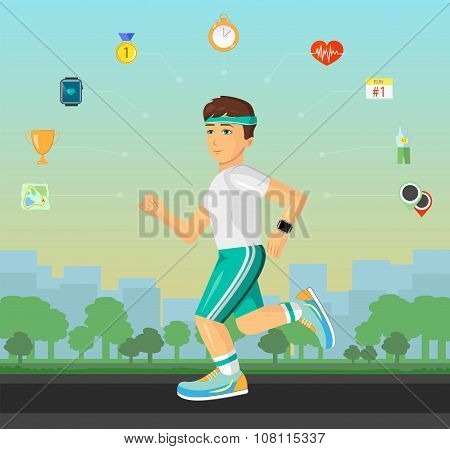 Runner men running on the street with set of flat material design sport fitness icons.