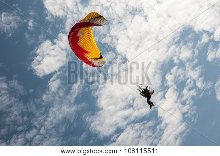 Parachute with beautiful blue sky background
