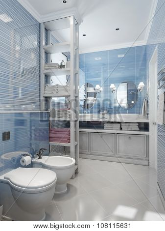 Bathroom Classical Style In Blue Tones