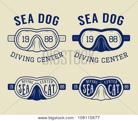Set Of Diving Logos, Labels And Slogans In Vintage Style. Vector Illustration