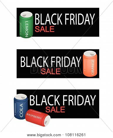 Soda Drinks On Black Friday Sale Banner