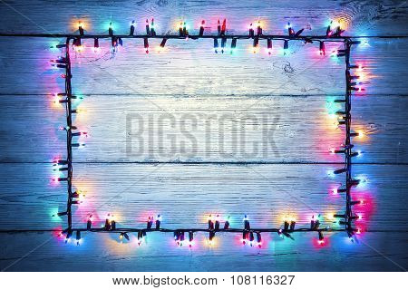 Lights Garland Colorful Wood Frame, Christmas Holiday Color Light Wooden Sign