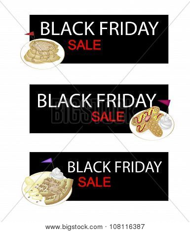 Waffles And Hot Dog Waffles On Black Friday Sale Banner