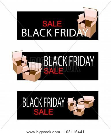 Cardboard Boxes On Black Friday Sale Banner