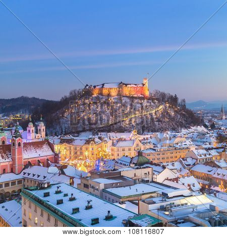 Panorama of Ljubljana in winter. Slovenia, Europe.