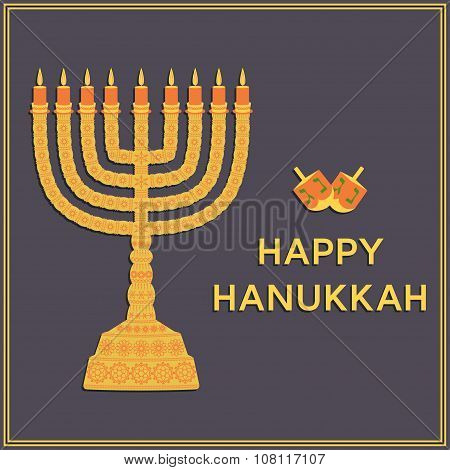 Hanukkah background with menorah, dreidels, text Happy Hanukkah, candles, David star and jewels. Bea