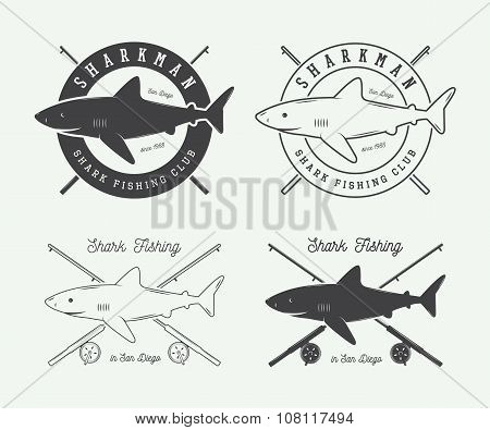 Set Of Vintage Fishing Labels, Logo, Badge And Design Elements With Rods, Sharks And Design Elements