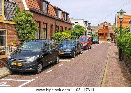 Parked Autos On Picturesque Street In Zandvoort, The Netherlands