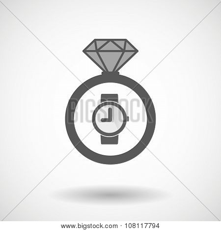 Isolated Vector Ring Icon With A Wrist Watch