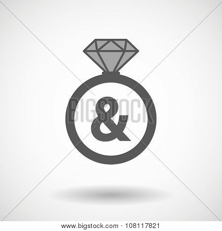 Isolated Vector Ring Icon With An Ampersand