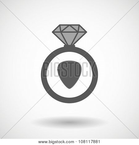 Isolated Vector Ring Icon With A Plectrum