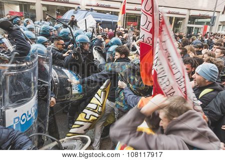 Students Confronting Police In Milan, Italy