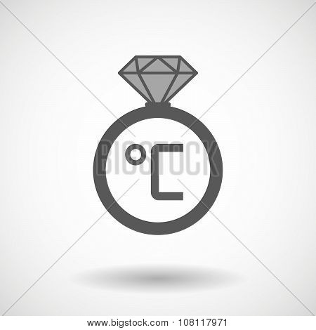 Isolated Vector Ring Icon With  A Celsius Degree Sign