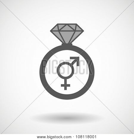 Isolated Vector Ring Icon With A Transgender Symbol
