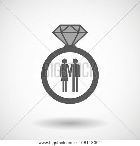 Isolated Vector Ring Icon With A Heterosexual Couple Pictogram